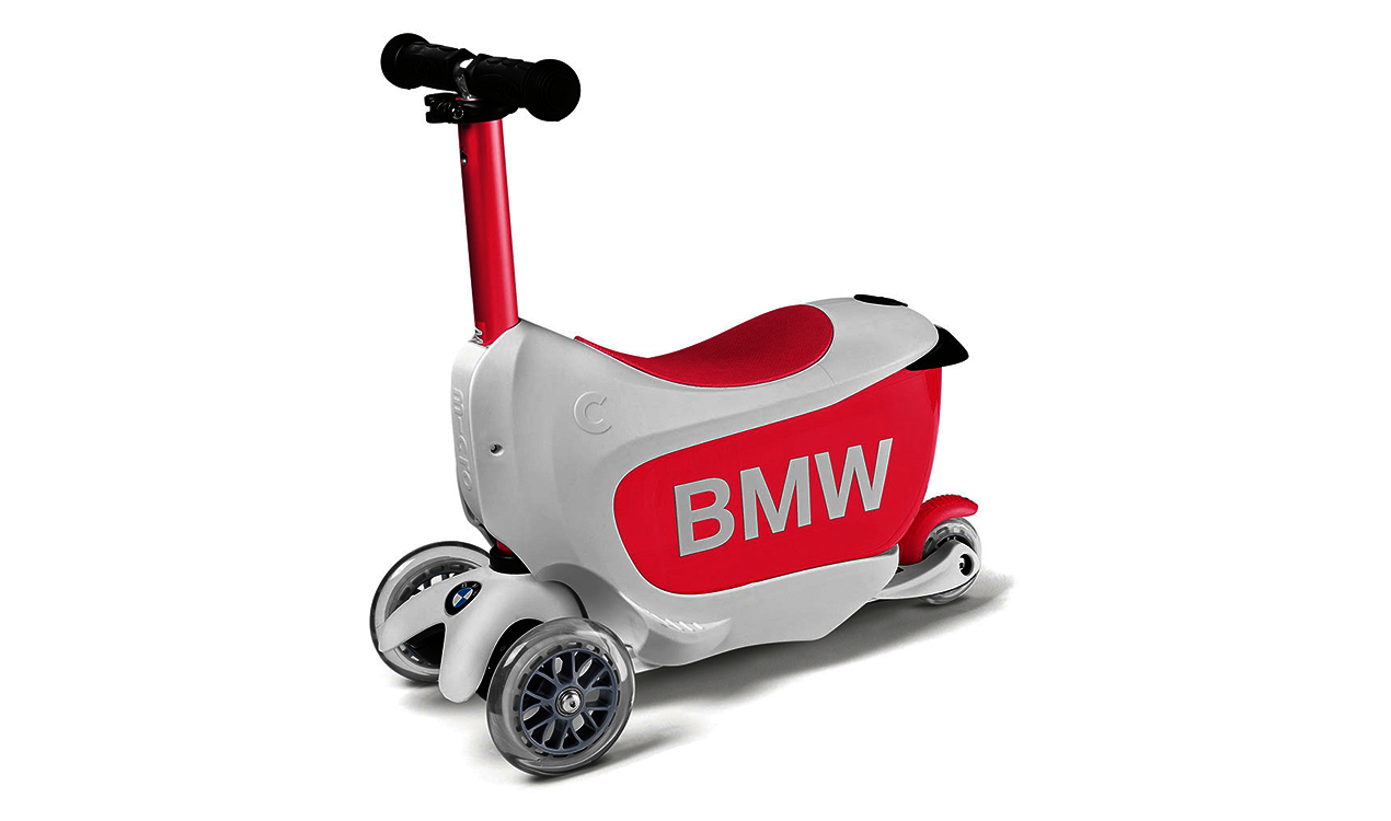 BMW Kids Scooter in weiß/himbeerrot